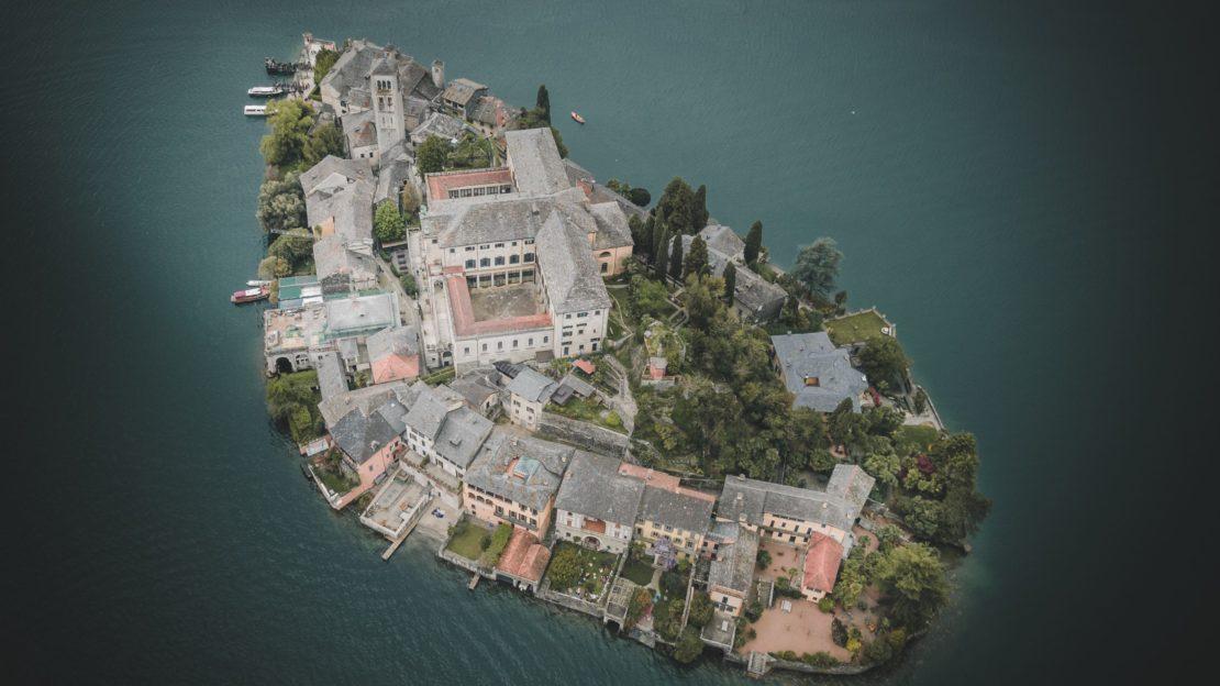 Isola San Giulio lago di Orta DJI DRONE