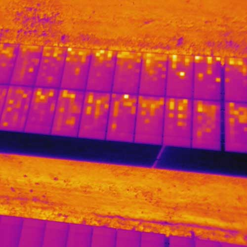 Inspection Panneaux, thermographie drone, cellules bypass